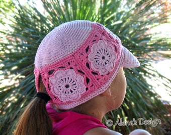 Crochet Pattern 196 Visor Ponytail Cap Hat Crochet Patterns Girls Ladies Child Adult Pink Hat Beanie Summer Visor Flower Motif