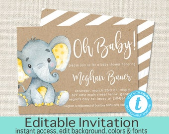 Elephant Baby Shower Invitation, Yellow Safari Elephant Invitation, Editable invitation, Grey Baby Elephant Invitation, Instant Download