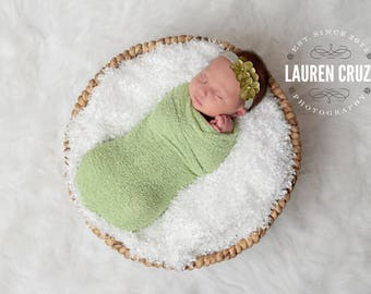 Sage Stretch Knit Swaddle Wrap AND/OR Hydrangea Headband, newborn wrap, bebe foto, perfect for infant photoshoots, by Lil Miss Sweet Pea