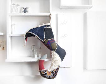 "27"" Handmade Elf stockings, Upcycled fabric, Tim Burton inspire christmas decor, Whimsical holiday, Custom stocking, Vintage Fabric"