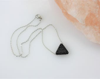 Triangle Essential Oil Diffuser Necklace - Aromatherapy Necklace - Lava Stone Necklace - Simple Diffuser Necklace - Minimalist Jewelry