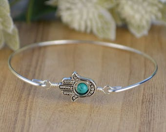 Hamsa Hand Bangle Bracelet-  Silver Plated Hamsa Hand, Turquoise, and Sterling Silver Filled Wire Wrapped Bangle- Custom Made to Size