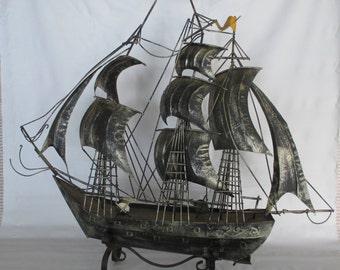 Model Tall Ship, Vintage Large Three Mast Square Rigged Sailing Clipper Barque Barkentine Pirate Corsair Nautical Marine Office Den Decor