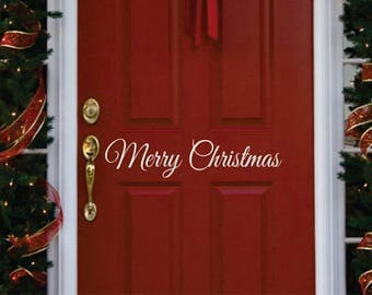Vinyl Wall Lettering // Merry Christmas // Small Decal // Christmas Decor // Door Decal // Wall Decal // LucyLews