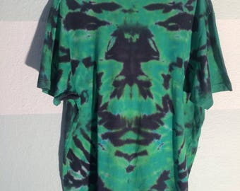 Cobalt Blue & Green Tie Dye Upcycled Shirt XL