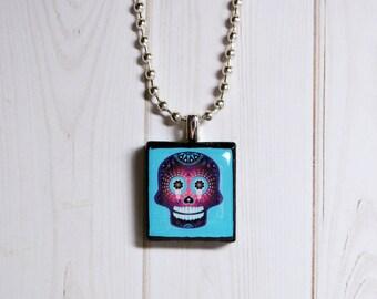 Sugar skull necklace, purple sugar skull jewelry, skull Scrabble jewelry, Day of the Dead necklace, skull charm, goth charm, blue skull