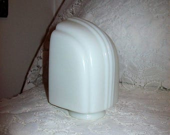 Vintage Art Deco White Milk Glass Globe Chimney Replacement Light Shade Only 8 USD
