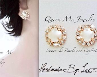 Pearl stud earrings, Swarovski pearl stud earrings, Pearl and crystal stud earrings, Halo pearl earrings, Brides pearl earrings, SOPHIA