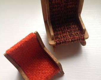 Lot of Two Small Wooden Handmade Chairs