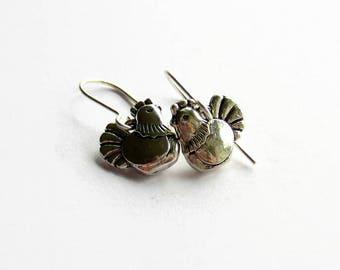 Silver Chicken Earrings - Hen Earrings - Chicken Jewellery - Farmhouse Jewelry - Chicken Lover Gift - Chicken Keeper - Bird Earrings