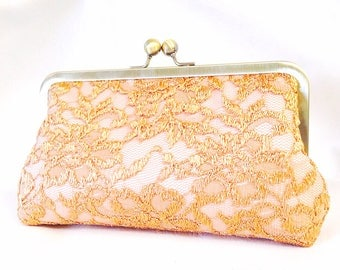 Exquisite Gold Lace Wedding Clutch Made to Order