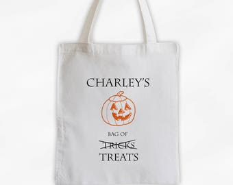 Trick or Treat Bag with Jack-O-Lantern Canvas Tote Bag - My Treats Personalized Halloween Reusable Tote (3019)