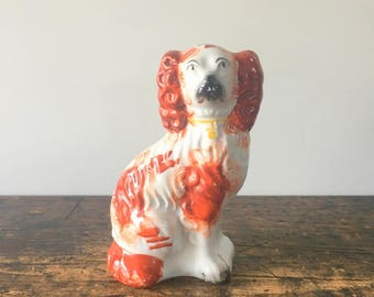 "Antique Staffordshire Dog, Rust And White Color, 5.5"" tall"