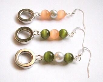 "Cat's Eye Drop Earring Choice of Colors, Cat's Eye Beaded Earrings, Orange ""Creamsicle"" Drop Earring, Orange and Green Cat's Eye Earring"