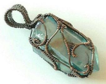 Aqua Aura Pendant, Wire Wrapped Jewelry, Wire wrapped Pendant, Copper, Copper Necklace, Wire Jewelry