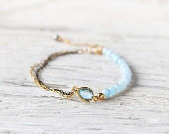Blue Bridal Bracelet - Something Blue Bracelet  - Blue Topaz & Aquamarine Bracelet - Bridesmaid Bracelet -  Dainty Wedding Bracelet