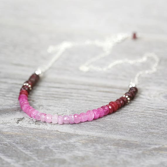 Silver Ruby Necklace - Ombre Ruby Necklace