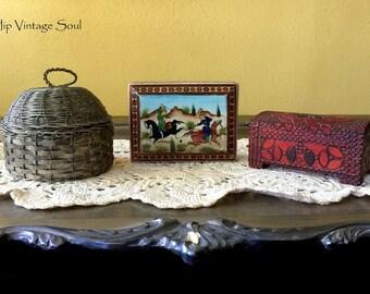 Vintage Unique Boxes, Vintage Souvenir Boxes, Metal, Poland, Asian, Ethnic,  Hand Crafted, Set of 3