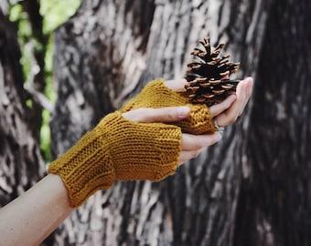 Mustard Fingerless Gloves ⨯ Yellow Knit Wrist Warmers ⨯ Women's Fall Fashion Gloves, Autumn Mustard Knit Wrist Warmers ⨯ Gift For Her