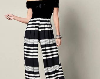 Off The Shoulder Jumpsuit With Strip Wide Legs All Sizes