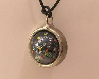 Black Marble Spinner Pendant Necklace