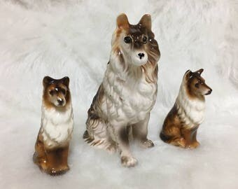Collie Dog Statues in Porcelain / 3 Vintage Dogs / Original Kress Store Tags