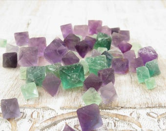 Fluorite Octahedrons - Polished Green Purple Fluorite - Crystal Octahedrons - Minerals - Reiki Crystals - Healing Stones Crystals