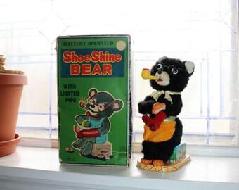 1950s Tin Toy Shoe Shine Bear Battery Operated w/ Box Trademark Japan