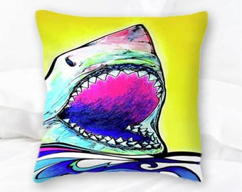 Great White Shark Pillow | Shark Throw Pillow | Shark Art | Nautical Pillows | Great White Pillow Cover | Home Decor | Surf Decor | Sea Life
