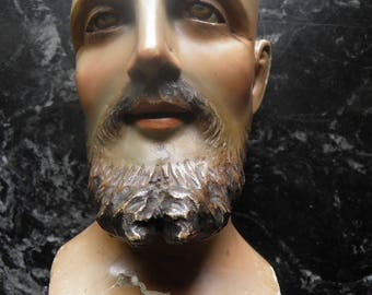 Antique Saint Bust, Religious Statue of Saint Joseph, With Glass Eyes.