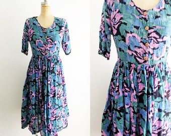 Vintage Floral Hawaiian Dress Vintage Hawaiian Dress 90s Floral Dress Cotton Hawaiian Dress Floral Cotton Purple Floral Dress Small Medium