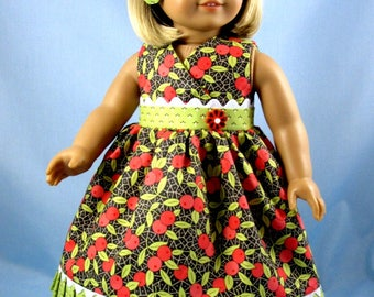 Doll Dress - Fits American Girl Dolls - 18 Inch Doll Clothes - Sundress and Hair Bow in Coral and Green