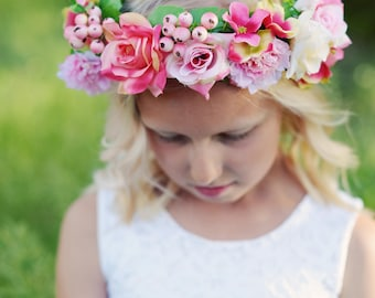 The Rose Headband: Flower girl hair band, flower girl hairpiece with roses