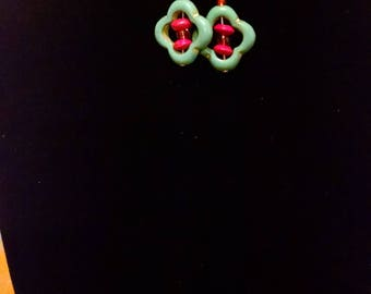 Turquoise and Red Wire-wrapped Copper Fish Hook Earrings