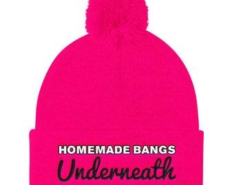 Homemade Bangs Underneath - Embroidered Beanie - Funny Beanie - Funny Hat - Pink Beanie - Subversive - Punk - Womens Beanie - Pom Pom Beanie