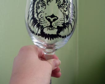 Hand painted Tiger wine glass