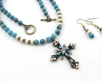 Cross Pendant, Semi-Precious Gemstone Turquoise Blue Beaded Necklace and Earrings Set, Women's Jewelry, Bohemian Style Cross Necklace
