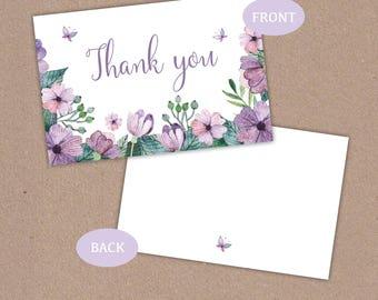 Purple Flowers Butterfly Thank You Card, Floral Vintage Wedding Gift, Christening, Baptism - Digital Instant download