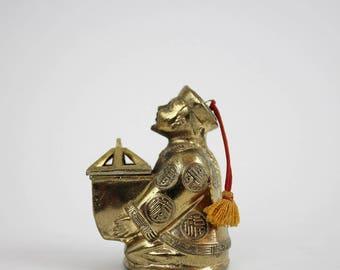 Vintage Brass Asian Man Incense Burner with Lid - Buddhist Meditation Censer