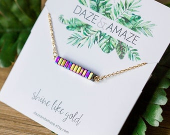 Hematite AB metallic stone bar necklace | Gold plated layering dainty simple necklace | Gifts for her under 20 | Purple metallic |