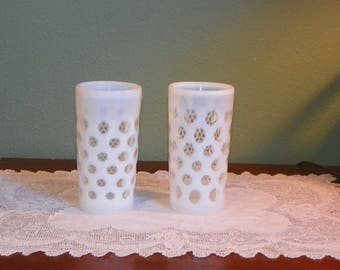 Vintage Fenton TUMBLERS Tall Opalescent Coin Spot Dot  Glass White optic french