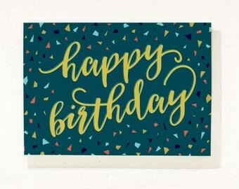 Birthday card, happy birthday, birthday confetti, birthday celebration, fun birthday card, colorful birthday, blank birthday card, bright