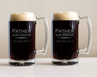 Engraved Father of the Groom or Father of the Bride Beer Mug: Personalized Family Wedding Beer Mug, Father of Groom Bride Gift, SHIPS FAST
