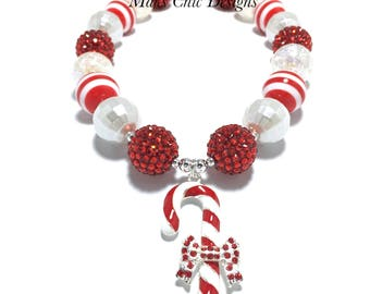 Toddler or Girls Candy Cane Chunky Necklace - Red and White Necklace - Christmas Candy Necklace - Red Candy Cane Necklace - Santa