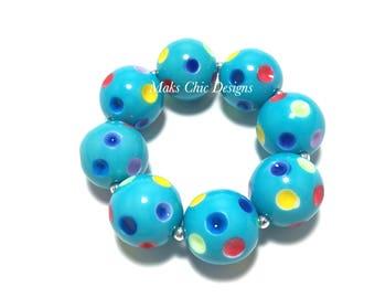 Toddler or Girls Rainbow Polkadot Chunky bracelet - Multi-color Dots Bracelet - Circus Chunky Bracelet - Turquoise Christmas Chunky Bracelet