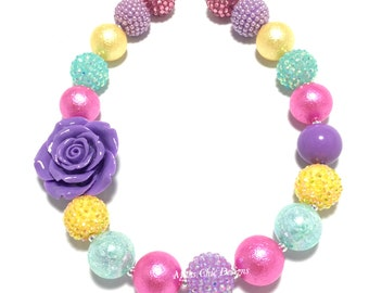 Toddler or Girls Chunky Rose Necklace - Purple Rose Chunky Necklace - Easter Pastel Chunky Necklace - Yellow, Pink, Purple, Aqua Necklace