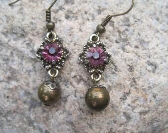 Vintage Crystal Earrings - Vintage Piece Crystal and Bead Drop Earrings - Vintage Purple Crystal Earrings