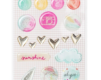 Amy Tangerine Rise and Shine - Epoxy Stickers -- MSRP 4.00