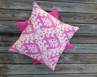 Pink Embroidered Ikat Pillow
