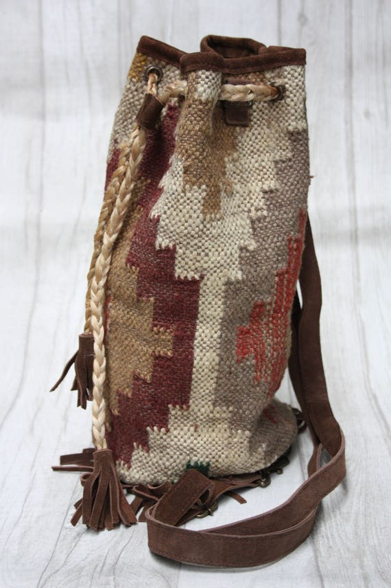 MAGIC CARPET BAG -Vintage Backpack- Aztec Bag- Three way bag- Rucksack- Bag- Ethnic bag- Recycled Fabric Bag- Satchel- Backpack- Gift